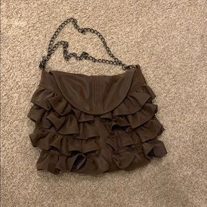 Big Buddha Brown Ruffle Tier Bag